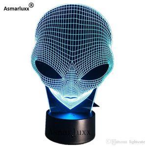 Чужеродные Head 3D голограмма Иллюзия Уникальный светильник Acrylic Night Light с сенсорным Переключатель Luminaria Lava Lamp 7ЦВЕТОВ Изменение Deco подарок