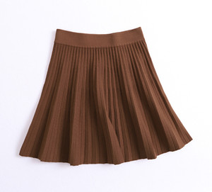 Sherhure 2019 Stretch High Waist Women Spring Mini Knitting Skirts Women A-line Pleated Skirt Black Faldas Jupe Femme Saia