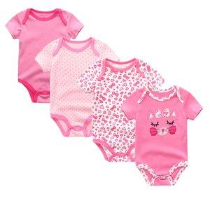 4pcs lot 2020 newbron summer baby rompers short sleeve cotton baby jumpsuit girls