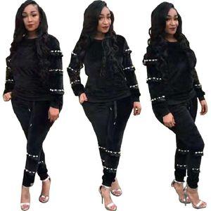 Yüksek Kalite Siyah Kadife Inciler Stilleri İki Adet Kadınlar Rahat Eşofman 2019 O Boyun Uzun Kollu T Gömlek Üst ve Pantolon Suits Spor Kıyafet