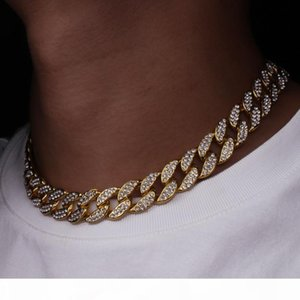 Karopel Iced Out Bling Rhinestone Golden Finish Miami Cuban Link Chain Men's Hip Hop Necklace Jewelry 16,18, 20,24 Inch C19021401