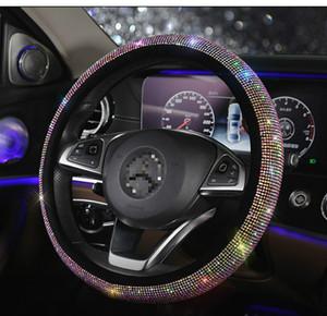 Auto-Lenkrad-Abdeckung, weicher Plüsch-Samt-Bling Kristallrhinestone-Lenkrad-Kissen-Schutz für 15 Zoll