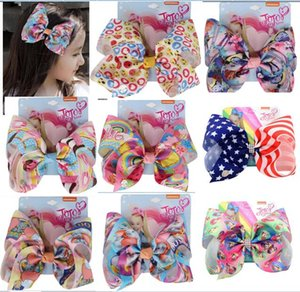 "NUOVO unicorno jojo swia bow 8 ""Cartoon elefante stampa nastro capelli arco paillettes mermaid hairbows clip di capelli ragazze principessa accessori per capelli 20 pz /"