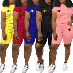 sports capris pull-over Champions design femme marque été manches courtes Ensemble 2 pièces shorts chemise poche t occasionnels costume vêtements 2690