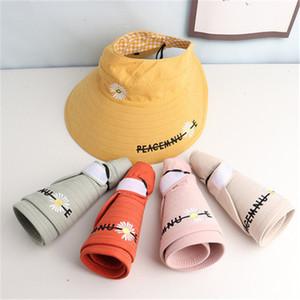 Children summer uv protection cap open top hat baby girls foldable beach cap wide brim cap Wholesale HN332