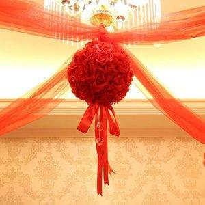 10PCS Fleur Embrasser Boule mariage soie Parti Rose Pomander Décoration satin NOUVEAU