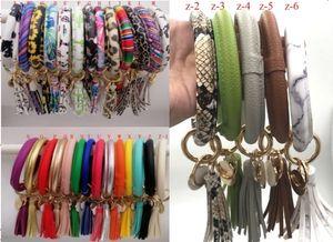 Pelle di Natale Girasole rotonda braccialetto dello smalto multicolore nappe Bracciale portachiavi di girasole Patterns leopardo braccialetto Portachiavi