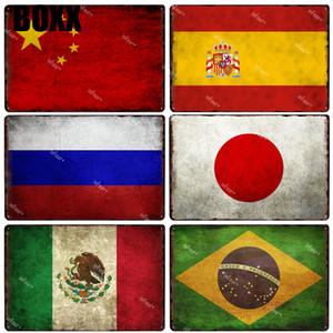 Çin İspanya Rusya Japonya Meksika Brezilya Metal Tabela Plak Retro Dekoratif Metal Poster Ulusal Bayrak Sign