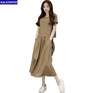 Kulazopper linho mulheres dress verão nova manga curta o-pescoço tops loose pocket two-piece set vestidos feminino retro vestidoszs662