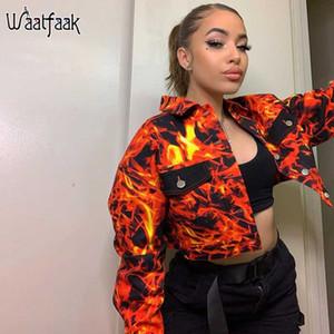 Waatfaak Arancione Harajuku Giacca autunno delle donne Fiamma Stampa Crop Jacket Turn-down Collar Pocket Streetwear Bomber Petto