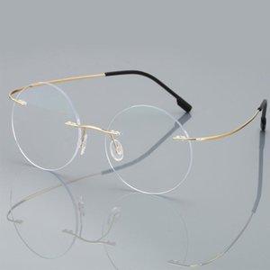 Hommes sans cadre Verres anti-bleus Myopia Femmes Verre + 1,50 + 2.00 Loupe Lectures de lecture sans monture Lunettes de vue Presbyopia rond MMXTS ronds