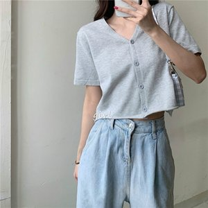 6 Colors New Summer Women Casual Solid Loose V-neck Short Sleeve Knitted T-shirts Female Chic Sexy Button Sports Crop Tops Tees