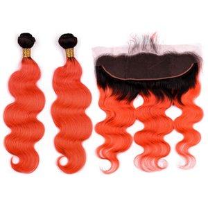 # 1B / Orange Ombre Indian Human Hair 2Bundles con Frontal Body Wave Ombre Orange Human Hair teje 2Tone tramas de cabello con 13x4 Lace Frontal