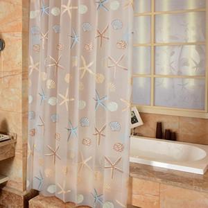 Rideau de douche moderne Starfish Partition fraîche Mer style imperméable Mildiou PEVA Rideau pour salle de bains Salle de douche