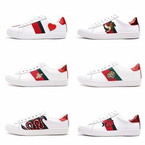 أحذية رجالي مصمم أحذية فاخرة عارضة أحذية بيضاء الرجال النساء المواد المتقدمة النحل زهرة ثعبان قلب الحب نجمة جلد طبيعي Zapatos