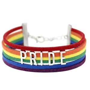 10 Adet / grup Infinity Aşk SıCAK Bran Gökkuşağı Bayrağı Gurur LGBT Charm Kalp Örgülü Bilezik Eşcinsel Lezbiyen Aşk Bilezikler dropshipping