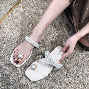 donne sandali e ciabatte estive 2019 nuovo selvatici confortevoli perle di moda indossare piedini antiscivolo scarpe signore coreane pantofole