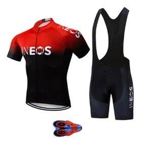 2020 Nuovo INEOS Cycling Team Jersey Set traspirante Racing Team Sport della bicicletta Jersey Uomini Vestiti di riciclaggio 9D BIB Bike Jersey