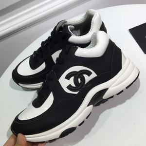 chanel Boş spor ayakkabıları kadar Renkli Taban Rahat Dantel ile Popüler Patchwork Patent Süet Deri Sneakers Erkekler ve Kadınlar Düz Ayakkabı