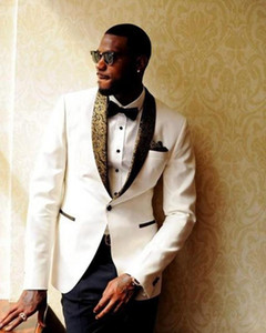 Latest Design Ivory Groom Tuxedos Groomsmen Custom Made Shawl Collar Mens Wedding Suits Bridegroom (Jacket+Pants+Bow Tie+Handkerchief)