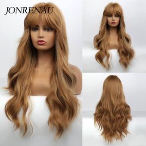 """JONRENAU Sentetik Beyaz / Siyah Kadın Gündelik Peruklar Neat Bangs ile 26"""" Kahverengi Renk Uzun Dalgalı Saç Moda Cosplay Peruk"""