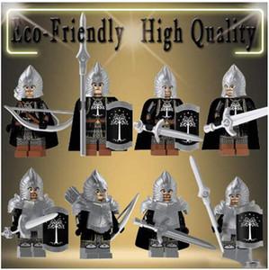 Vente unique Seigneur des Anneaux Technic d'action Figures Chevalier Soldat du Gondor Lance l'épée des blocs de construction Briques Jouets