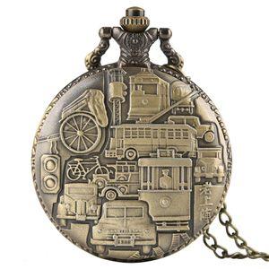 Classico orologio da tasca al quarzo di Shanghai, orologio da taschino in bronzo, squisita orologio da taschino, orologio Steampunk unisex con catena