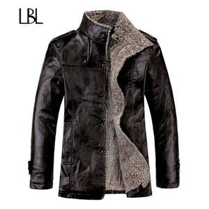 Vintage PU кожаные куртки мужские зимние Теплый сгущает искусственного меха руно Liner Men Jacket ветрозащитный Стенд Воротник Slim Fit Мужской пальто