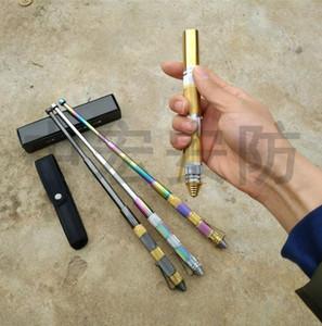 KNUCKLE DUSTERS Dedektif Taşınabilir Kendini savunma Mini Kalem Salıncak Sopa Acil Geri Çekilebilir Teleskopik Üç-knuckle karbon çelik Sticks