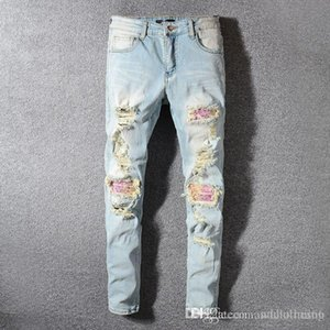 2020 new hot Men's designer jeans torn distressed long light blue striped denim trousers New Arrivals Hip Hop mens slim fit jeans