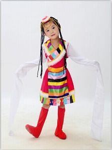 Çocuk Tibet Dans Kostüm Su Kol Dans Giyim Chines Halk Giyim