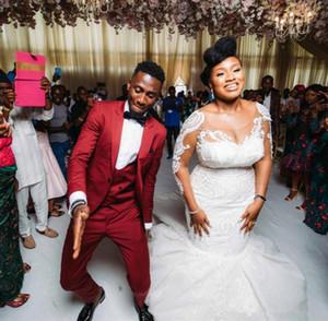 Afrique Red Grooms smokings pour les garçons d'honneur meilleur homme mariage costume costumes pour hommes d'affaires formel Prom Blazer (veste + veste + pantalon)