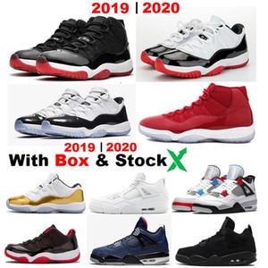 Sneakers Novos 2019 11s Bred 2020 Low Bred Concord 11 4s gato preto com caixa branca 4s de cimento recém-chegado tênis de basquete por atacado