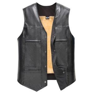Vest do Couro Vest Men Inverno casaco quente Pure Casacos Colete Casual Cor Vest por Homens Jacket Homem sem mangas dos homens