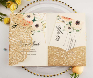 free shipping 100X glitter gold wedding invitations envelope personalized inserts rose laser cutting pocket fold invite