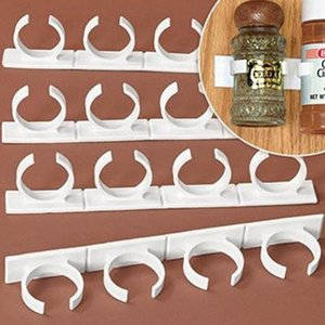 4pcs Clip N Store Spice Rack Storage Holder Stick Kitchen Closet Cabinet Cooking Tools Kitchen Decoration Furniture Accessories With Package