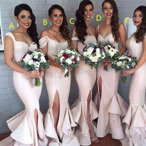 Sirène fard à joues sequin Robes de mariée de Split Light Pink Ruffled Tiered sexy demoiselles d'honneur Pucelle honneur de Robes