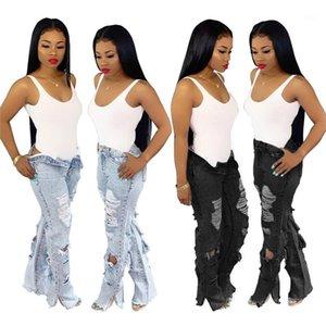 Jeans Printemps droites Trou Jean longues Pantalons Filles taille haute Mode Pantalons Femmes Bouton Zipper Fly