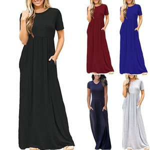 Europa e América do vestido dos MULHERES New Style saias longas Primavera-Verão Hot Selling Short Sleeve Casual Vestido de bolso