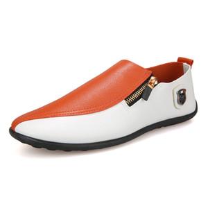 Folaxshoo Loafers Zip Man Schuhe Herren Loafers PU Leder Breathable Casual Herren Schuhe Frühling Herbst Drving Schuh Herren