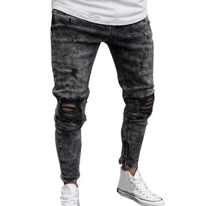 Vantage Holes Ripped Demin Mens Jeans Slim Fit Bandage Skinny Black Jean Homme Cotton Pencil Pants Sexy Fashion Clothes