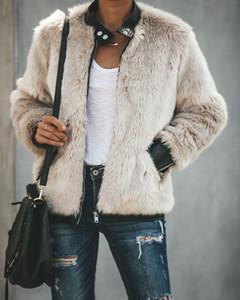 Kadınlar Kış Uzun Sıcak Cep Kabarık Coat Polar Kürk Ceket Zip Yukarı Dış Giyim