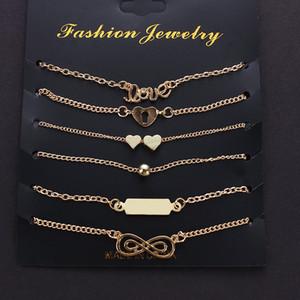 Carta Infinity regalo de la manera pulseras Love Set Zoeber 6Pcs / Infinity 8 joyería pulsera de la aleación del corazón del tobillo de las mujeres Bijoux