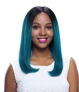Короткие Зеленые Ombre Боб парик фронта шнурка парики человеческих волос Straight Virgin китайский человеческих волос Glueless полный парик шнурка Two Tone Black / Green