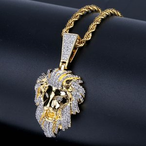 Lion Head Drop pour la personnalité à la mode homme True Gold-plaqué Zircon Hip-Hop Collier pour hommes Vente chaude en Europe et en Amérique