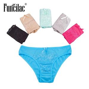 FUNCILAC sans couture dentelle Sous-vêtements Culottes femme Sous-vêtements Culotte de coton Culotte Femme Sexy Femmes Lingerie 5pcs / lot