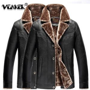 VEAKER 2019 PU velluto che ispessisce cappotto giacca invernale collare Piazza moda maschile di business termica causale cappotto da uomo nuovo