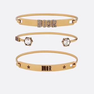Braccialetto di modo retro della lettera di cristallo braccialetto lungo della stella Accessori Carta Bracciale Donne insieme moderno del braccialetto del polsino aperto