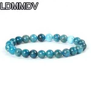 Апатит браслет синий бисер драгоценный камень Браслет для женщин мужчин эластичный 8 мм Heathy Дружба подарок Подарок