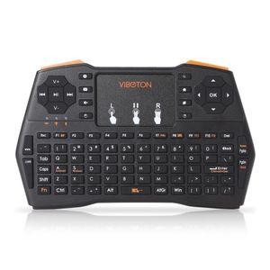 VIBOTON Plus Retroiluminación de mano Mini teclado inalámbrico TouchPad para TV Box Gaming Air Mouse Control remoto Ruso Español i8 BA
